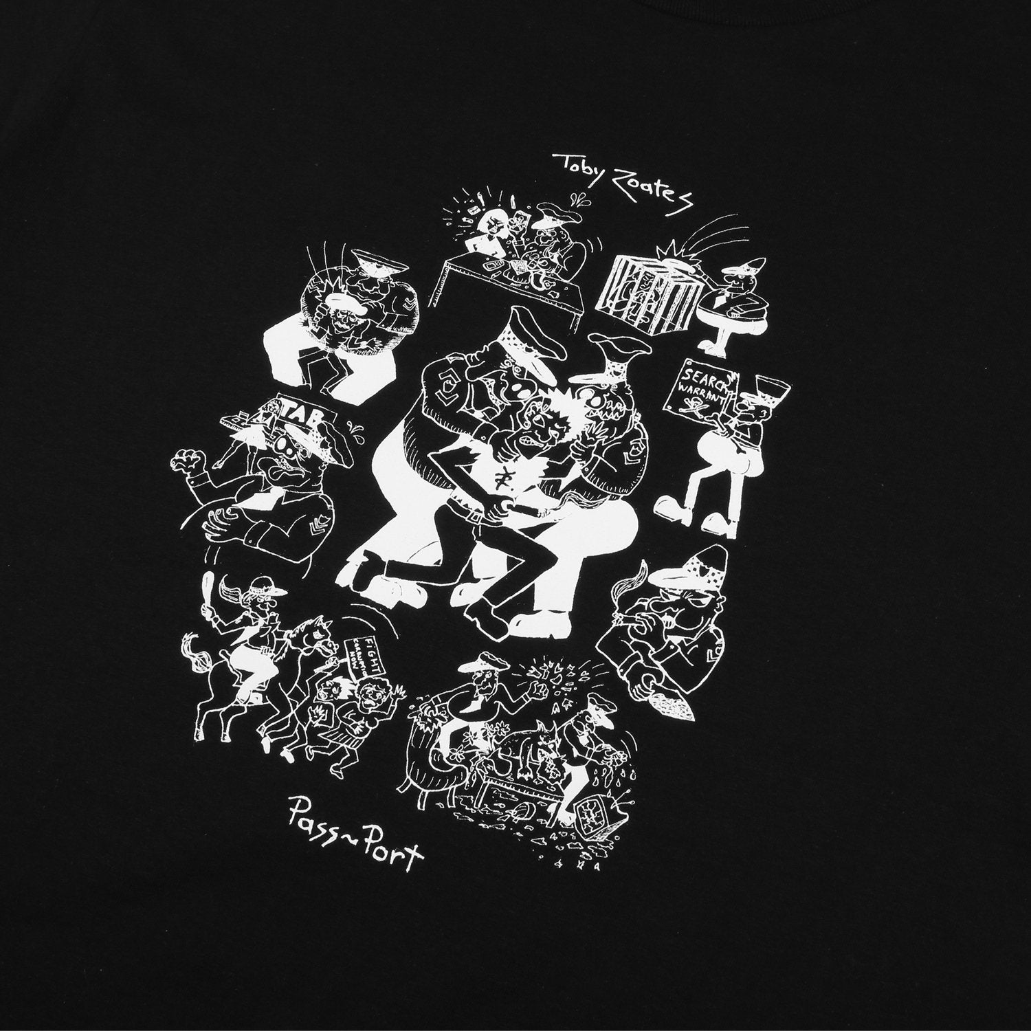 "PASS~PORT TOBY ZOATES ""COPPERS"" TEE BLACK"