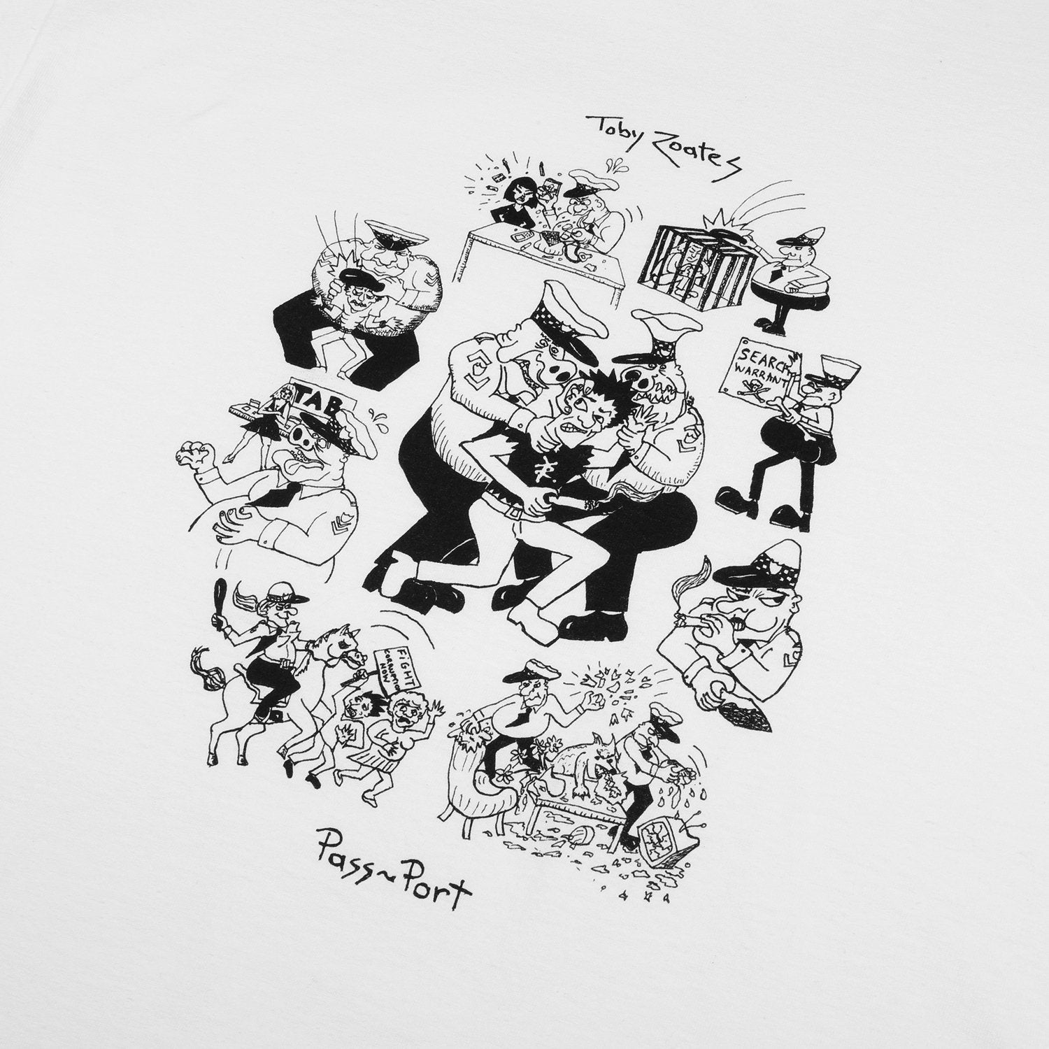 "PASS~PORT TOBY ZOATES ""COPPERS"" TEE WHITE"