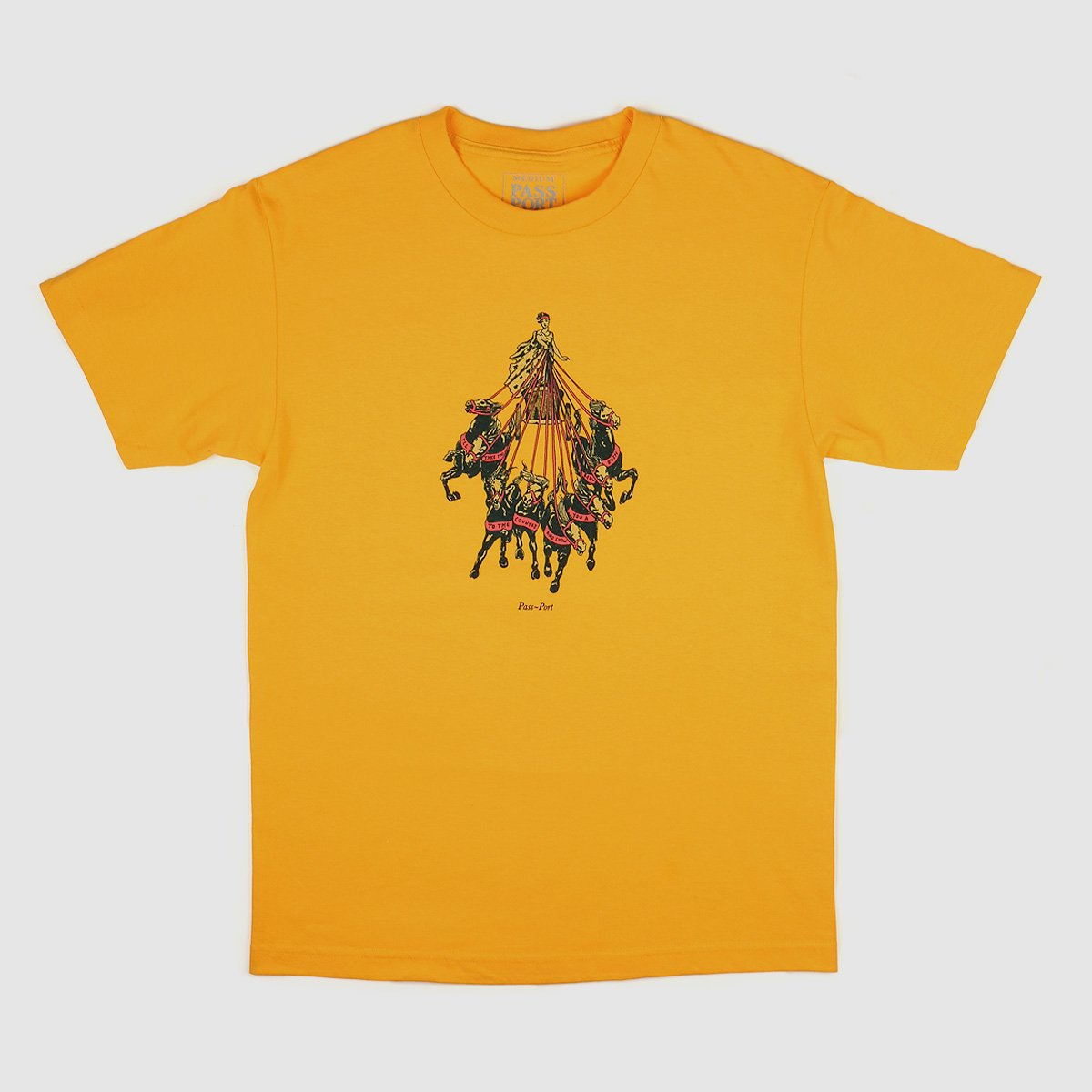 "PASS~PORT ""STATE HORSES"" TEE GOLD"