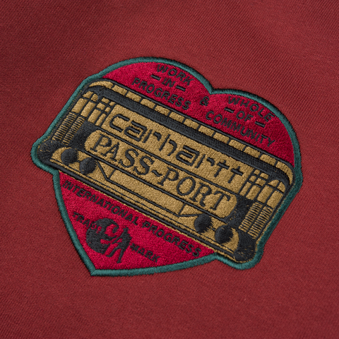 CARHARTT WIP & PASS~PORT THANK~YOU SWEATSHIRT RED