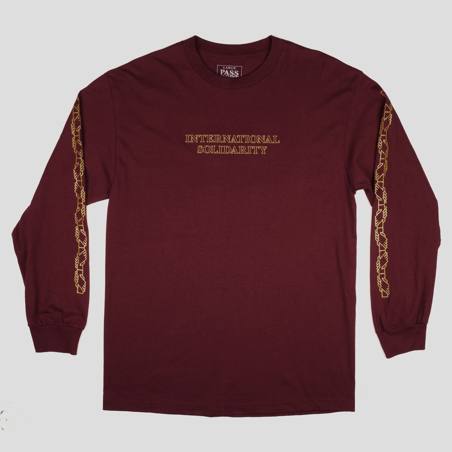 "PASS~PORT ""INTER SOLID"" L/S TEE BURGUNDY"
