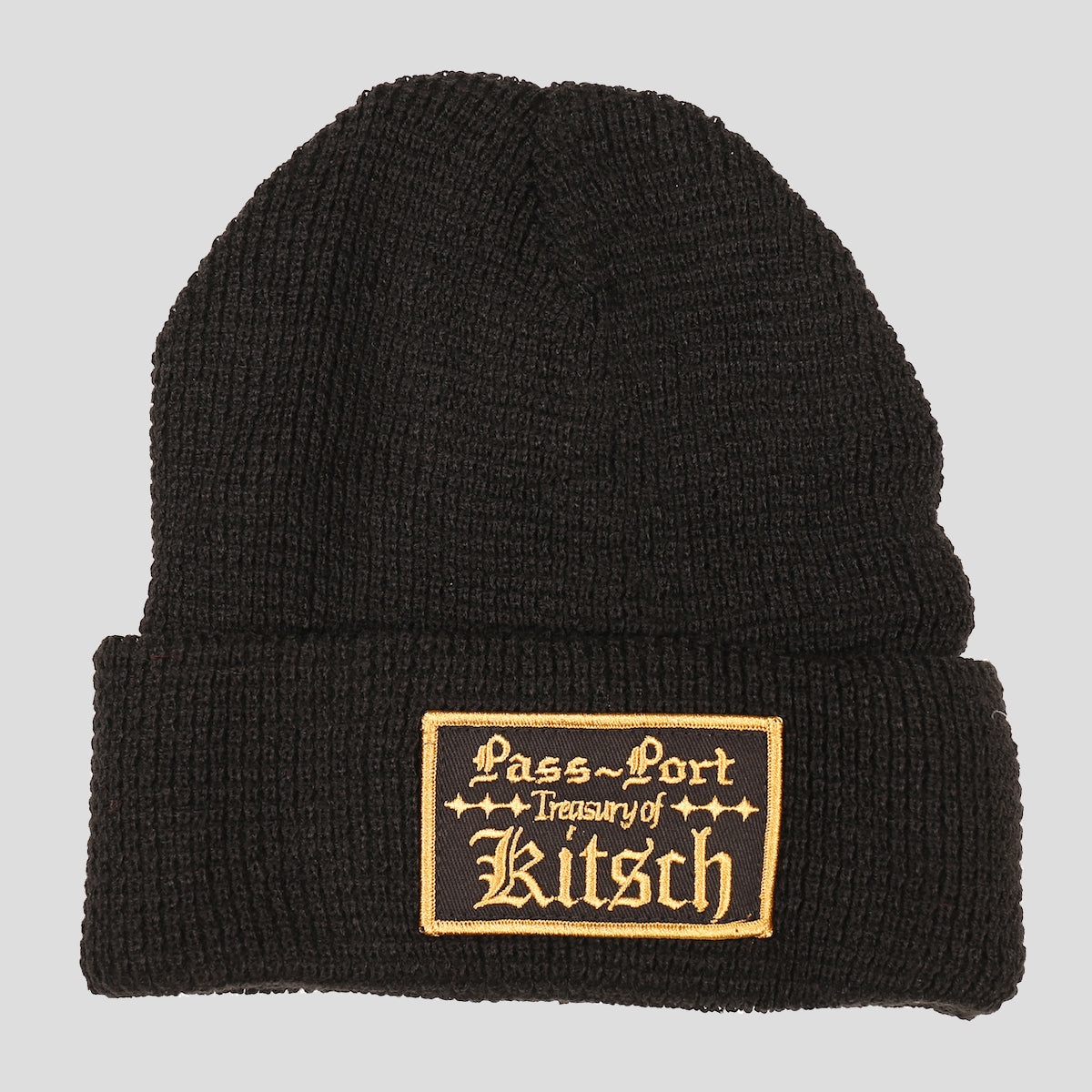 "PASS~PORT ""TREASURY"" WAFFLE KNIT BEANIE BLACK"