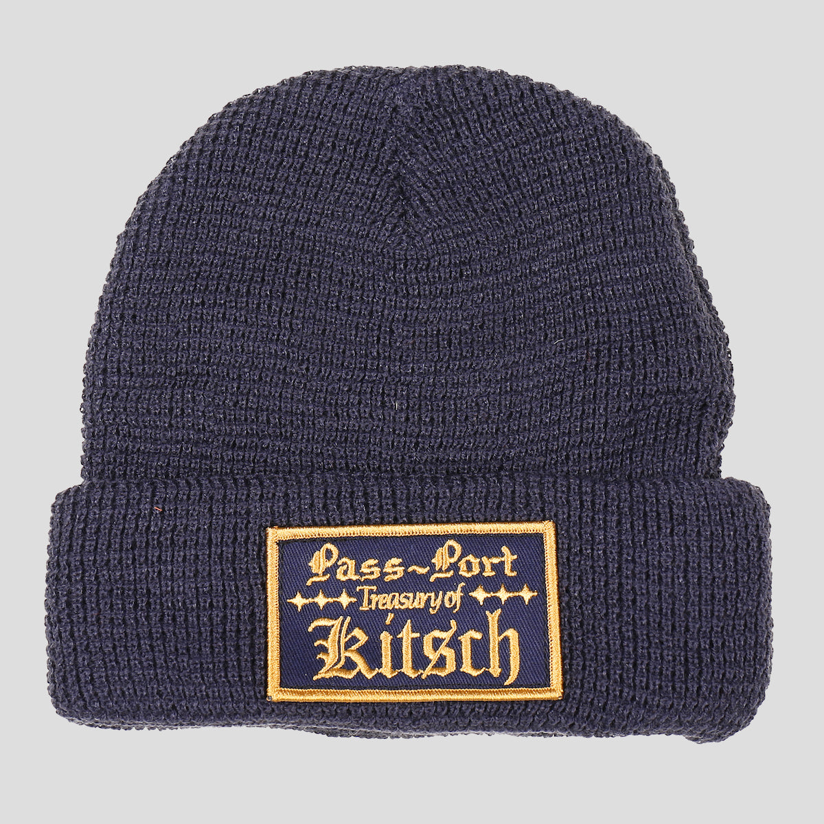 "PASS~PORT ""TREASURY"" WAFFLE KNIT BEANIE NAVY"