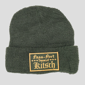 "PASS~PORT ""TREASURY"" WAFFLE KNIT BEANIE FOREST GREEN"