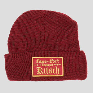 "PASS~PORT ""TREASURY"" WAFFLE KNIT BEANIE MAROON"