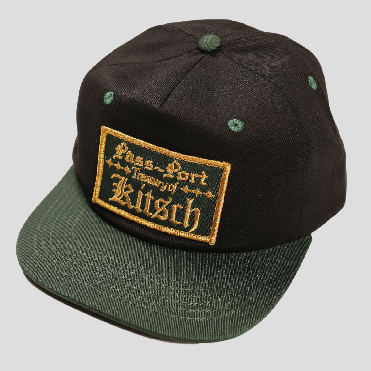 "PASS~PORT ""TREASURY"" 5 PANEL CAP BLACK/GREEN"