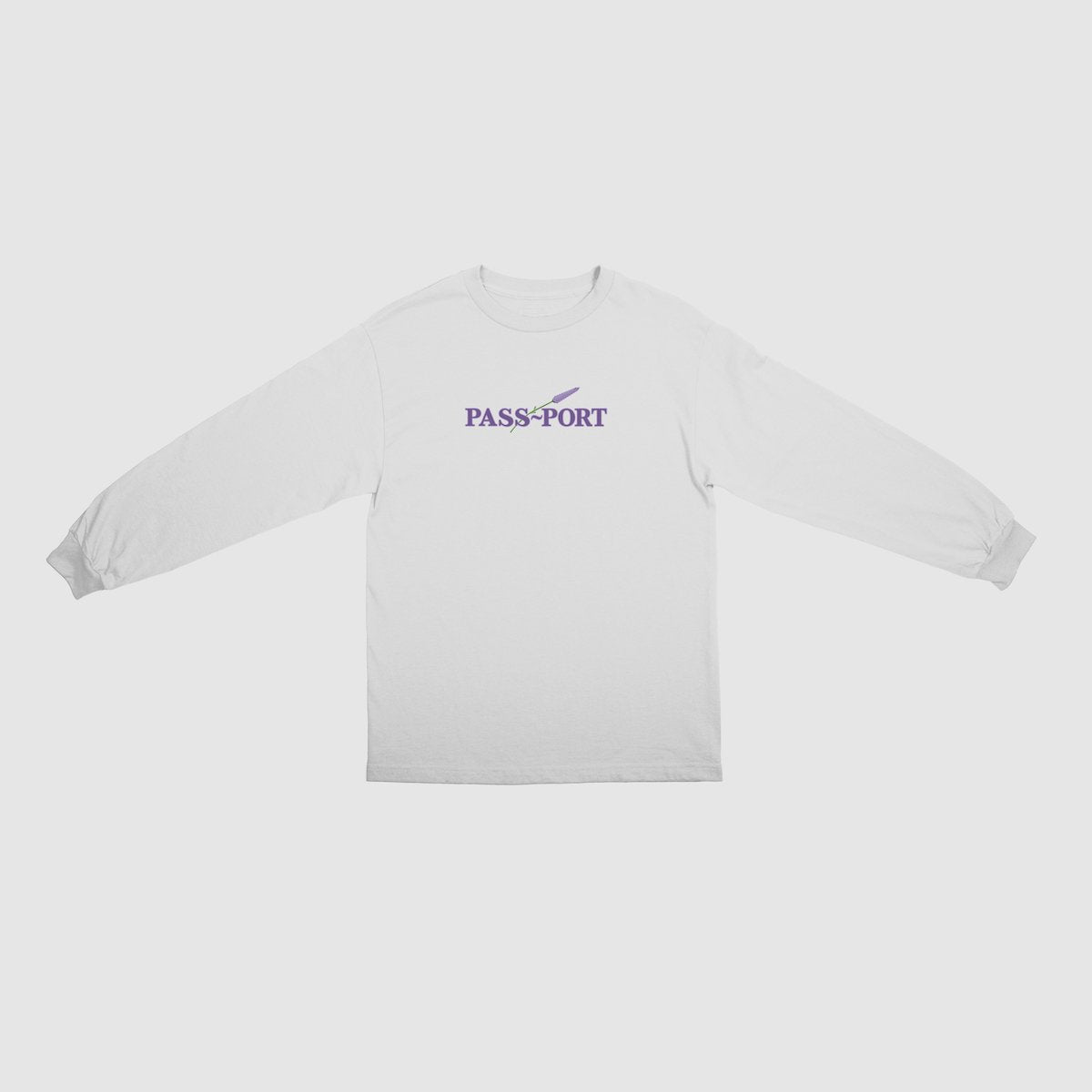 "PASS~PORT ""LAVENDER"" L/S TEE WHITE"