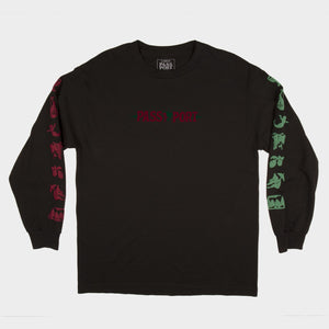"PASS~PORT ""LIFE OF LEISURE"" L/S TEE BLACK"