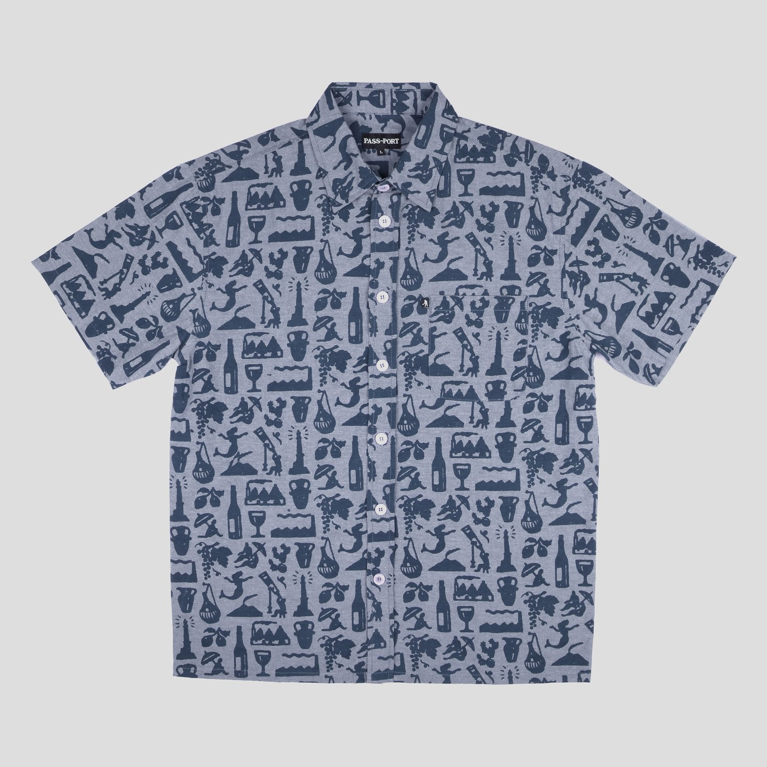"PASS~PORT ""LIFE OF LEISURE"" S/S SHIRT BLUE"
