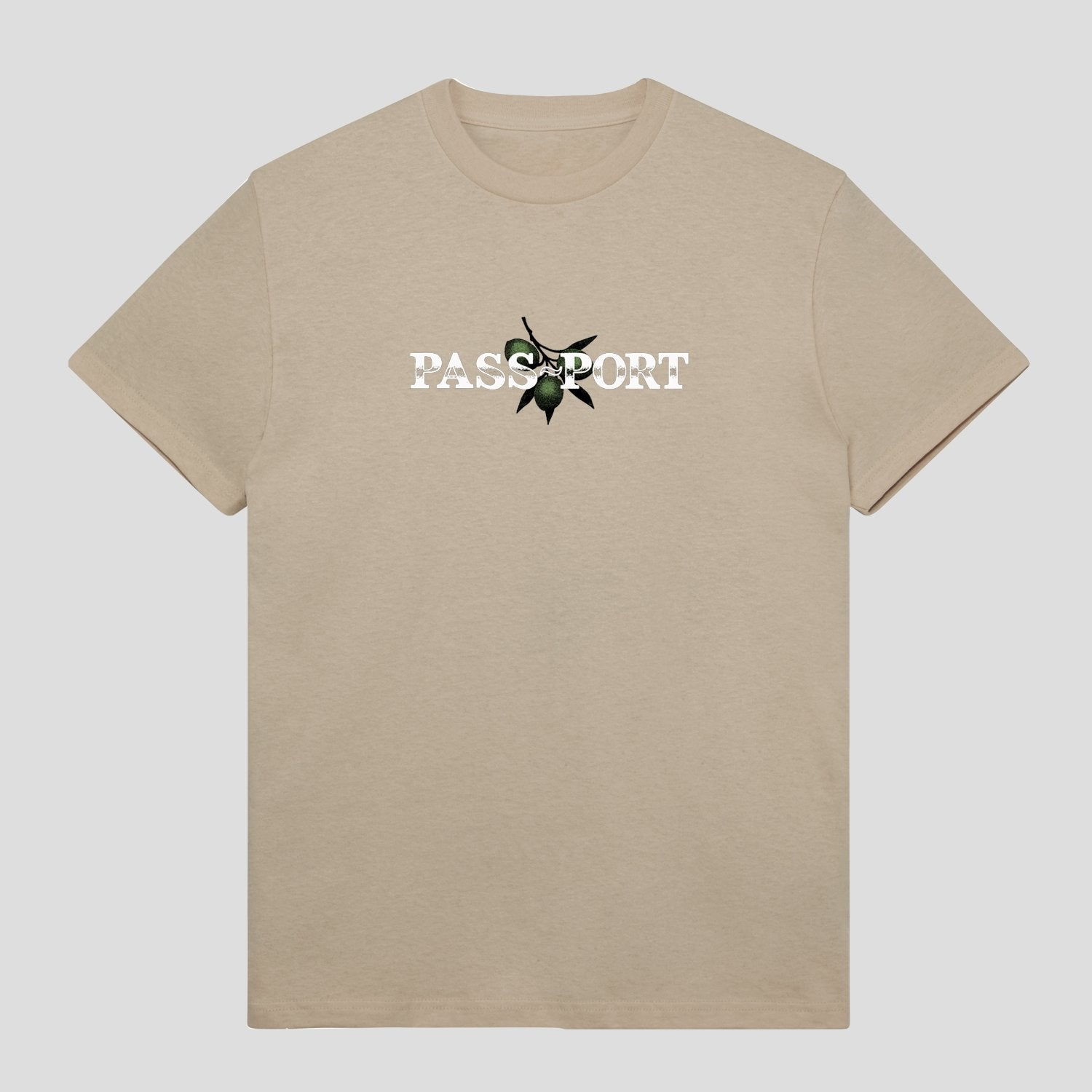 "PASS~PORT ""OLIVE"" PUFF PRINT TEE SAND"