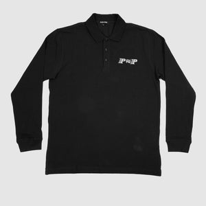 "PASS~PORT ""PPP"" L/S POLO BLK"