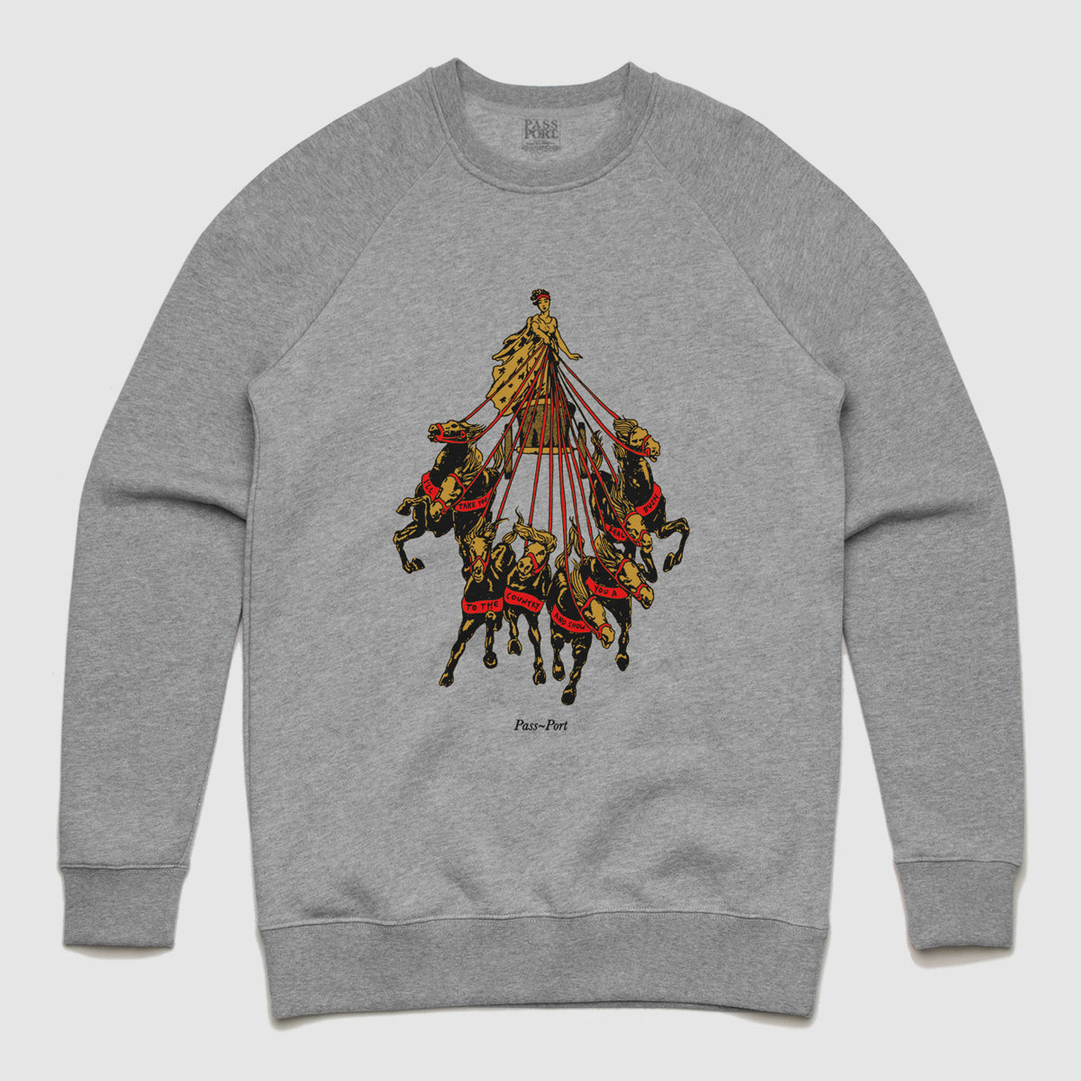 "PASS~PORT ""STATE HORSE"" SWEATER HEATHER GREY"