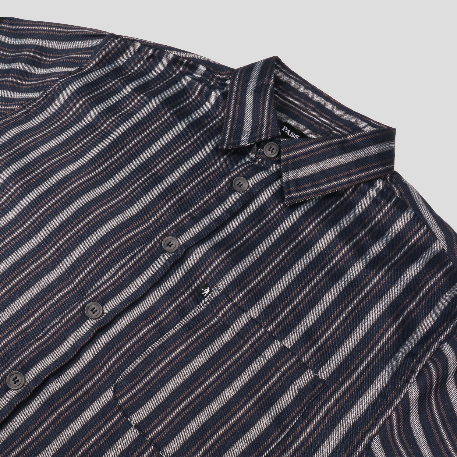 "PASS~PORT ""WORKERS STRIPES"" S/S SHIRT NAVY"