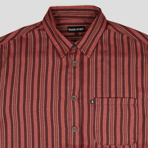 "PASS~PORT ""WORKERS STRIPES"" S/S SHIRT BURGUNDY"