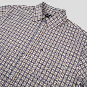 "PASS~PORT ""WOVEN CHECK"" S/S SHIRT NAVY"