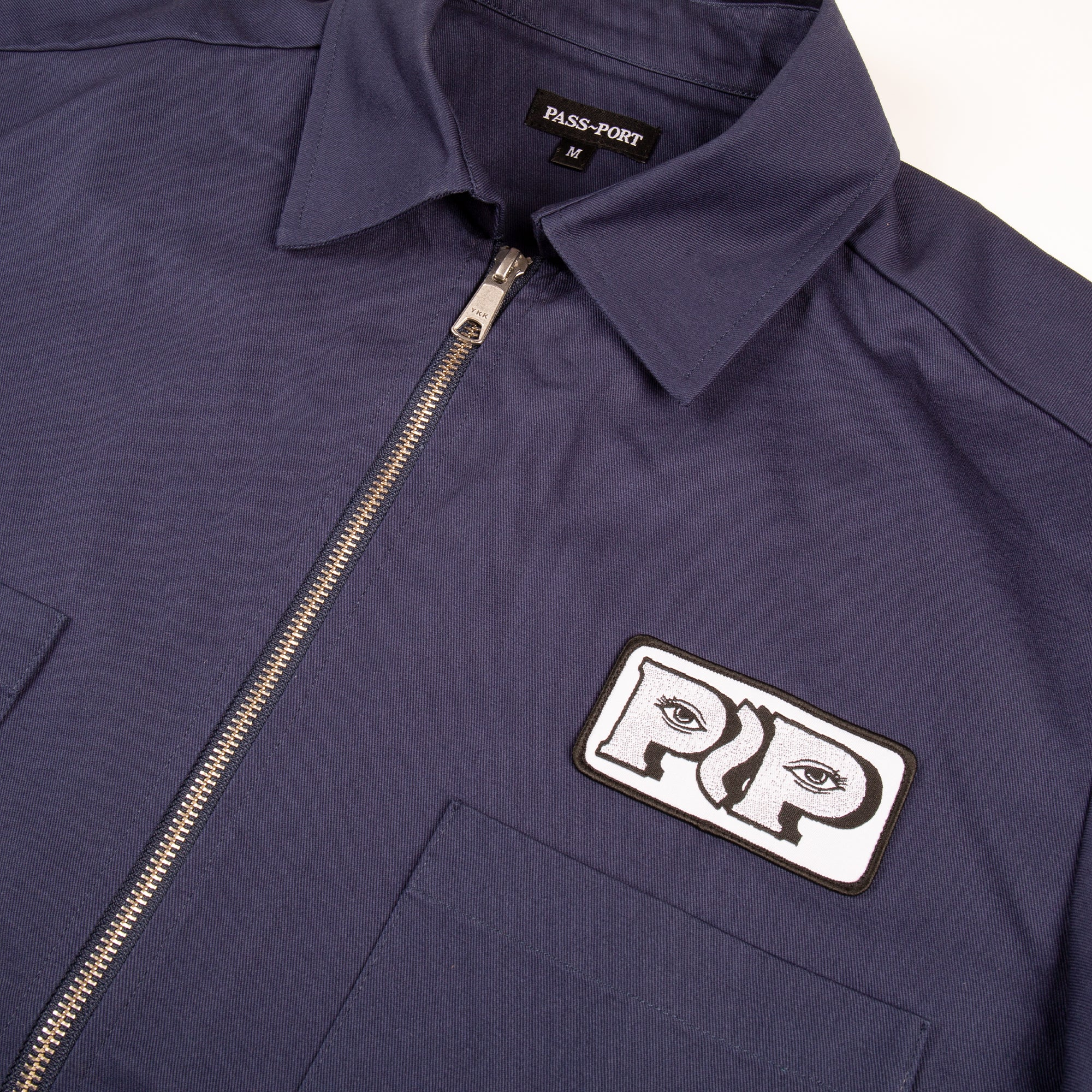 "PASS~PORT ""WORKERS ZIP UP"" S/S SHIRT NAVY"