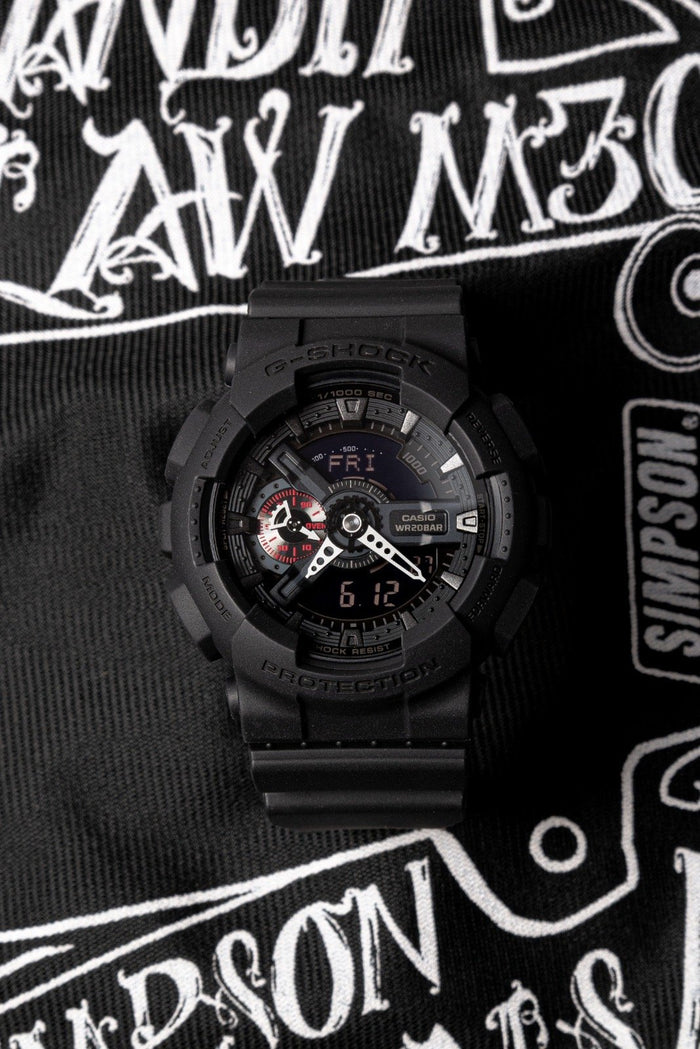 gshock GA110MB-1A matte black mens analog digital watch