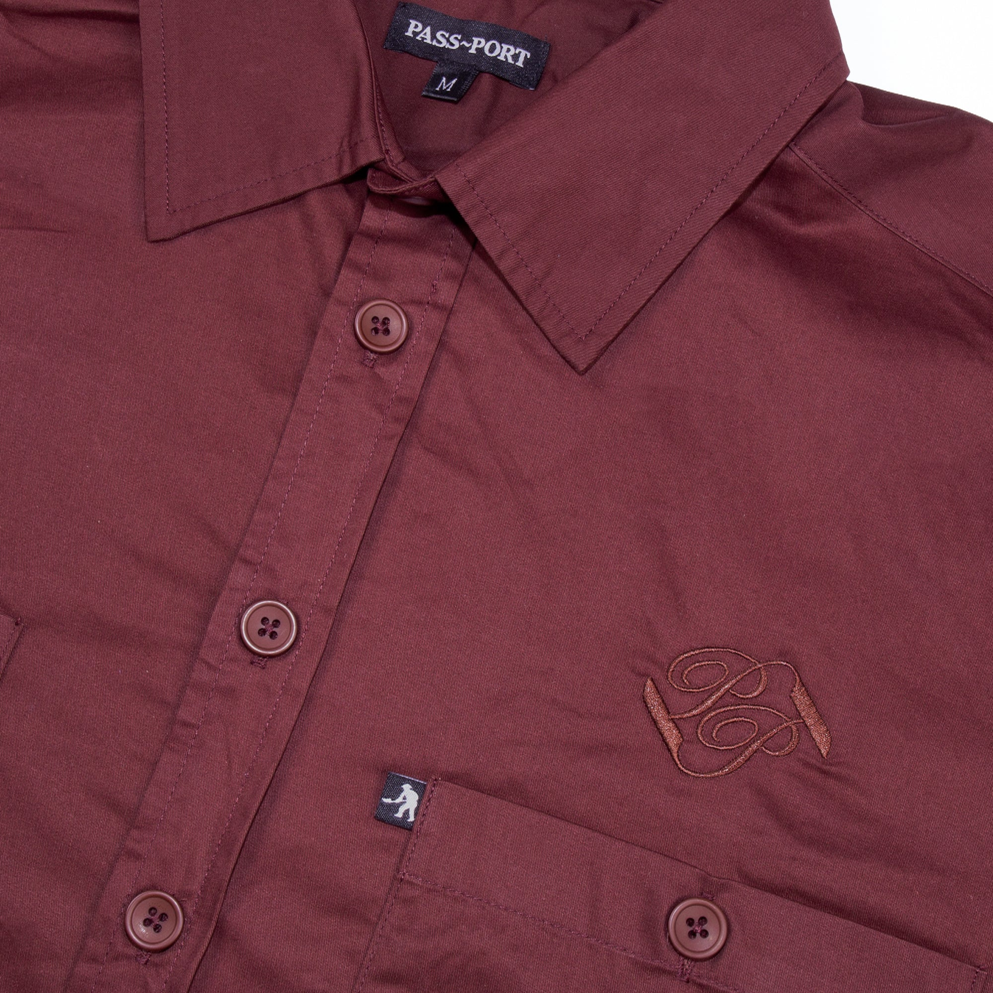Workers Banner Shortsleeve Shirt (Burgundy)