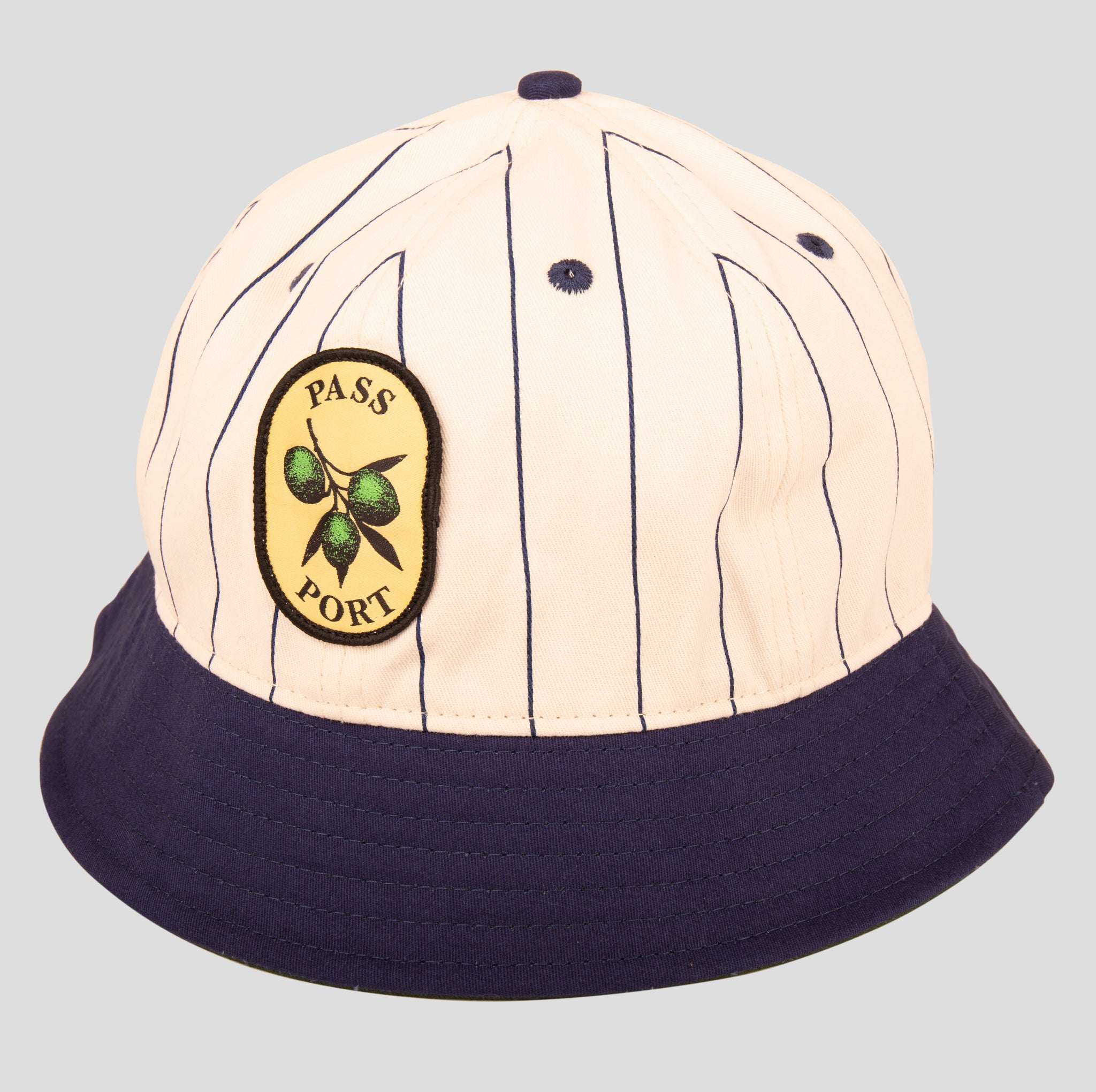 Olive Stripe 6 Panel Bucket Cap (Navy)