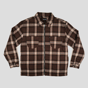 Quilted Zip Up Flannel Jacket (Choc)