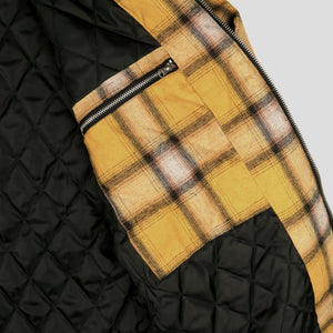 Quilted Zip Up Flannel Jacket (Mustard)