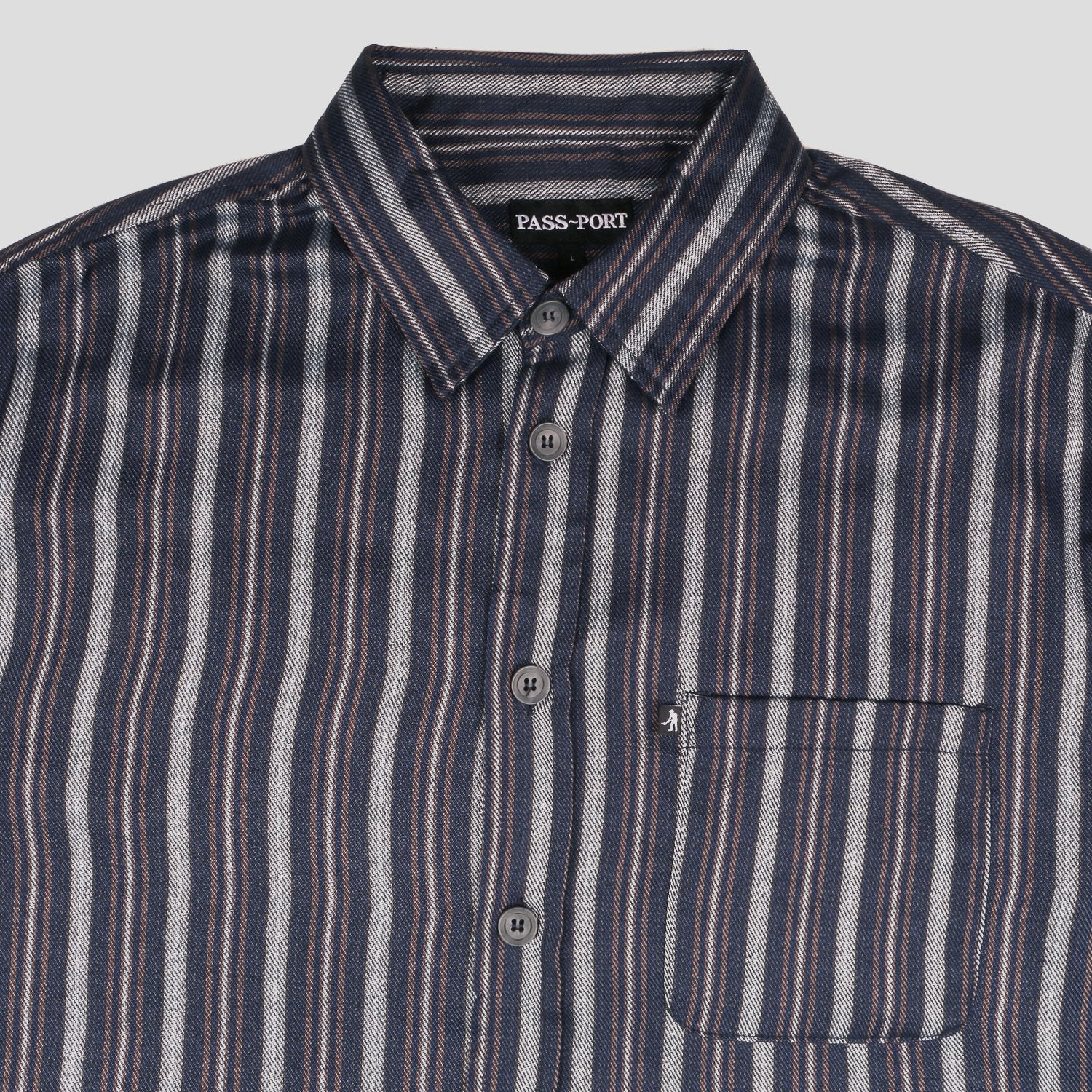 Workers Stripe Shirts - Shortsleeve (Navy)