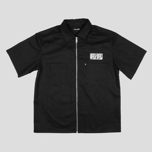 "PASS~PORT ""WORKERS ZIP UP"" S/S SHIRT BLACK"