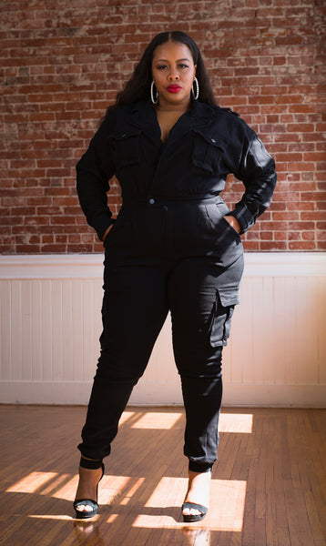 HBIC | Cargo Denim Jumpsuit - Bougie Chic Boutique