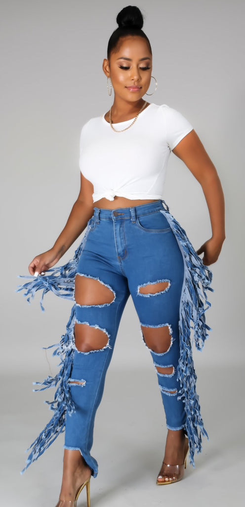 Saddle Up | Fringe Distressed Denim