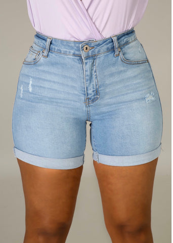 Tenacity | Denim Cuffed Shorts