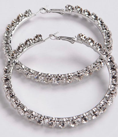 Staple | Rhinestone Hoop Earrings - Bougie Chic Boutique