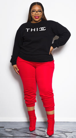 "THICC | Double ""C"" Sweater - Bougie Chic Boutique"