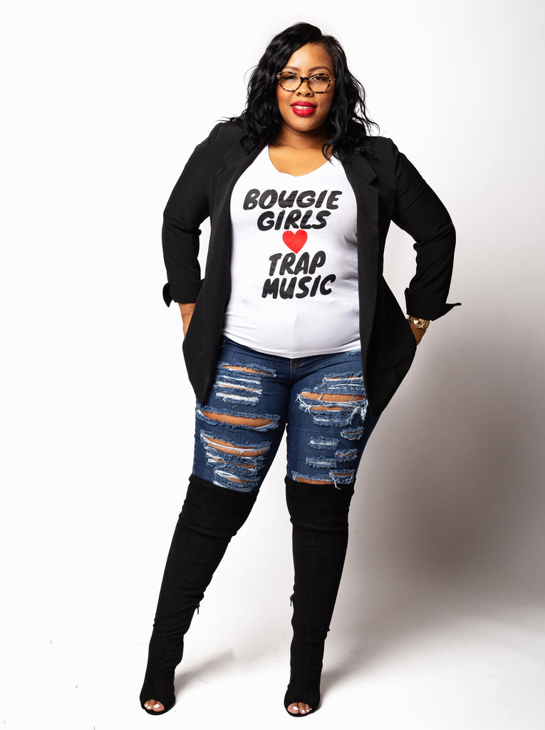 Bougie Girls ♥️ Trap Music | V Neck Tee