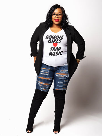 Bougie Girls ♥️ Trap Music | V Neck Tee - Bougie Chic Boutique