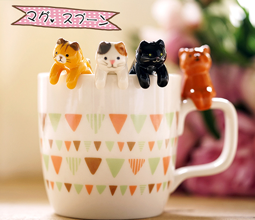 Set of 5 Cute Cat Ceramic Spoons