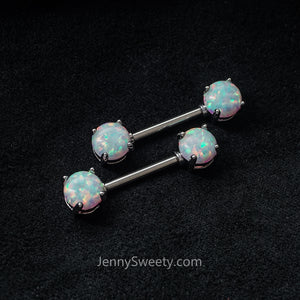 1 Piece Prong Opal Nipple Ring Nipple Barbells
