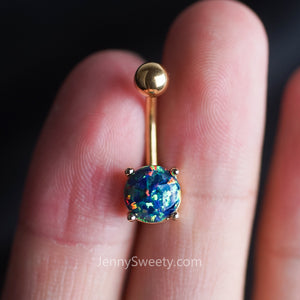 Green Opal Belly Ring Belly Button Piercing