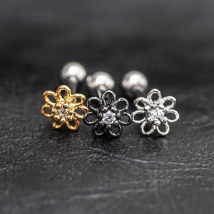Flower Zircon Helix Earring Cartilage Earrings Flower Tragus Piercing Tragus earring