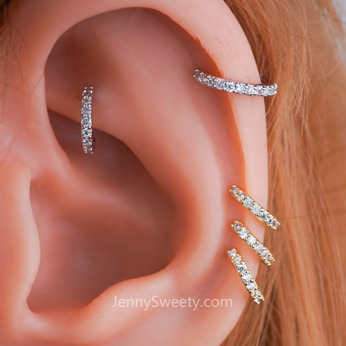 Classic Zircon Cartilage Piercing Daith Earring Hoop