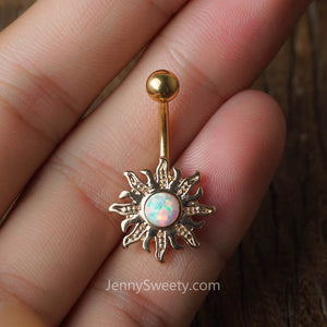 Opal Sun Belly Button Ring Belly Button Piercing Belly Rings Navel Rings