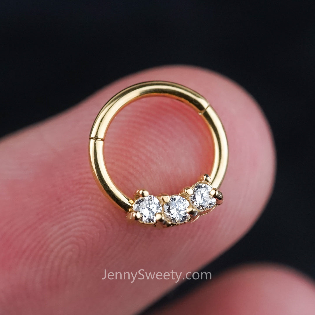 Silver Trio Zircon Hoop Daith Earring Hoop Cartilage Septum Ring ...