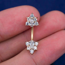 Double Triangle Flower Zircon Belly Button Ring
