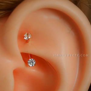 daith earring daith piercing 16g rook earring rook piercing eyebrow ring snug piercing silver curved bar 6mm 8mm