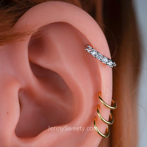 Zircon Hoop cartilage Helix hoop earring Cartilage earring Conch earring Cartilage hoop Rook piercing