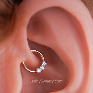 Silver Trio Zircon Hoop Daith Earring  Hoop Cartilage Septum Ring