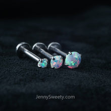 Fire Opal Triple Helix Cartilage Tragus Earring Labret
