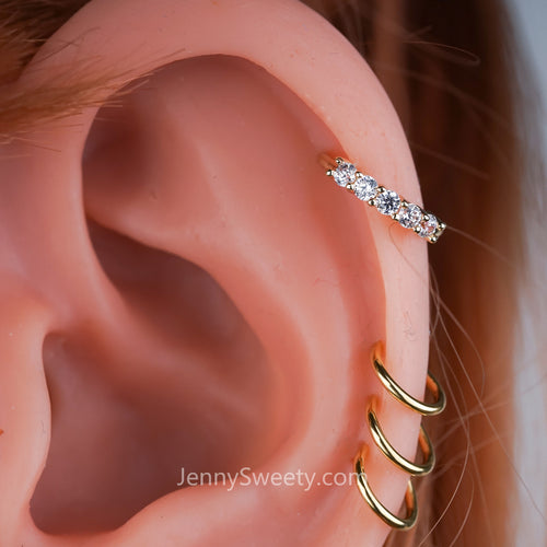 Zircon Hoop Cartilage Earring Rook Piercing