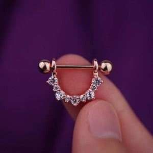 1 Piece Rose Gold Flower Zircon Nipple Ring Nipple Barbells