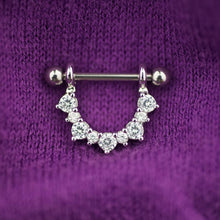 1 Piece Silver Flower Zircon Nipple Ring Nipple Barbells
