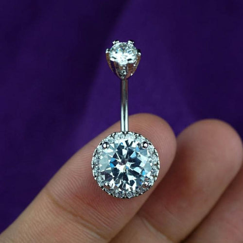 Sparkle Clear Zircon Belly Button Ring